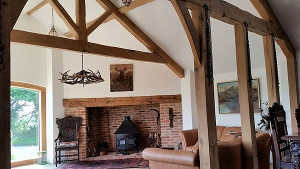 Airdried Oak truss and partion wall