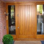 Iroko frame and boarded door Four Oaks