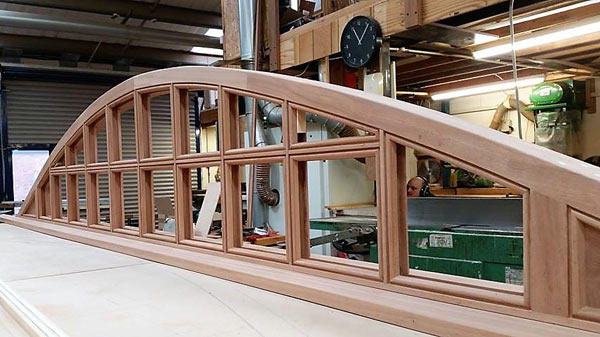 Sapele eye brow window under construction